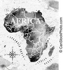 mapa, áfrica, tinta