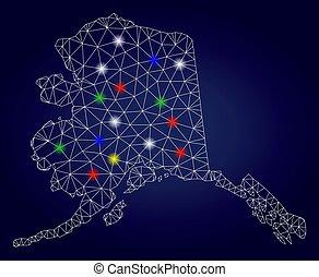mapa, alasca, manchas, 2d, luminoso, vetorial, brilho, malha