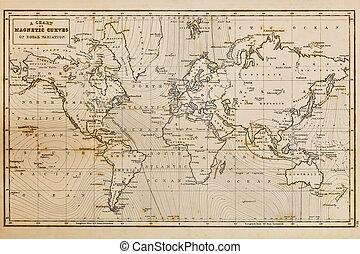 mapa, antigas, vindima, mão, mundo, desenhado