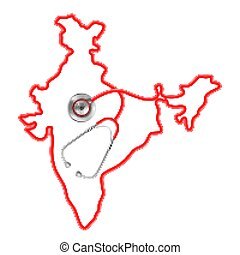 mapa, ao redor, médico, fundo, índia, estetoscópio, conceito