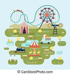 mapa, atrações, circo, parque, ou, divertimento