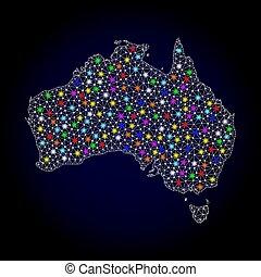mapa, austrália, luz, quadro, manchas, luminoso, malha arame