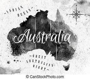 mapa, austrália, tinta