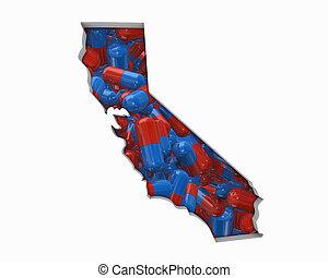 mapa, drogas, ca, ilustração, pílulas, saúde, califórnia, cuidado, seguro, 3d