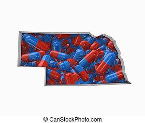 mapa, drogas, ne, ilustração, pílulas, nebraska, cuidado saúde, seguro, 3d