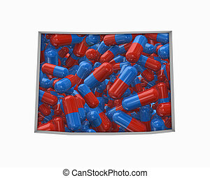 mapa, drogas, wyoming, ilustração, pílulas, cuidado saúde, seguro, wy, 3d