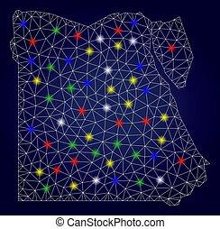 mapa, egito, luminoso, manchas, 2d, glowing, vetorial, malha