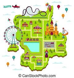 mapa, elementos, família, festival, map., divertir, parque, lazer, jogos, atrações, fairground, funfair, esquema, caricatura, divertimento, criança
