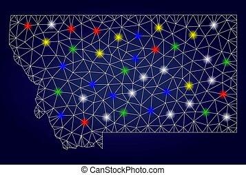 mapa, estado, glowing, manchas, 2d, luminoso, vetorial, montana, malha