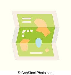 mapa, estilo, apartamento, parque, relatado, vetorial, ícone, divertimento