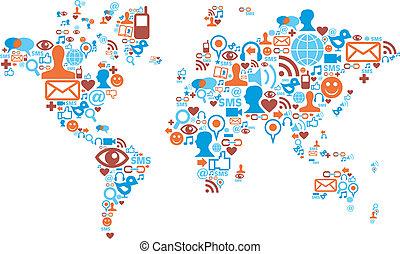 mapa, feito, ícones, mídia, forma, social, mundo