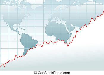 mapa, financeiro, global, mapa, crescimento, economia