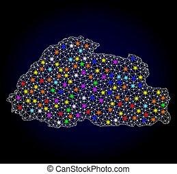 mapa, fio, butão, luz, quadro, manchas, luminoso, malha