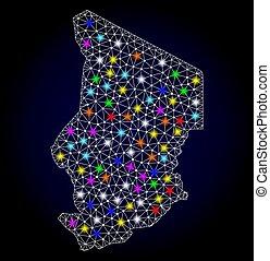 mapa, fio, chade, luz, quadro, manchas, luminoso, malha
