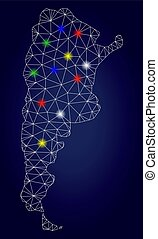 mapa, frame fio, malha, luminoso, vetorial, manchas, argentina, brilho