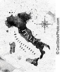 mapa, itália, tinta