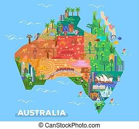 mapa, marcos, austrália, arquitetura