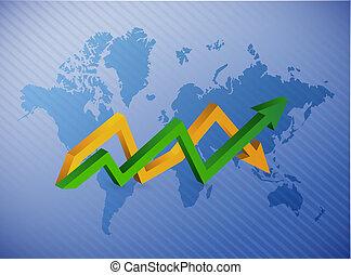 mapa, negócio, cima, mapa, baixo seta, mundo
