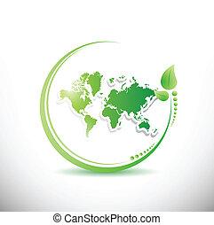 mapa, orgânica, dentro, ilustração, leave., mundo