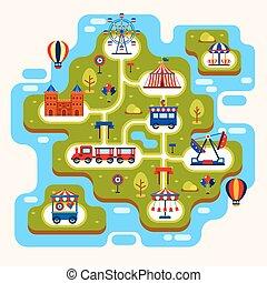 mapa, parque, divertimento, atrações