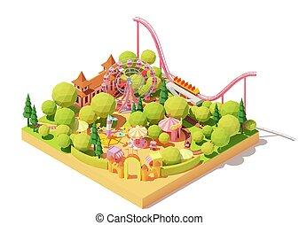 mapa, parque, isometric, vetorial, divertimento