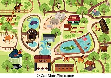 mapa, parque, jardim zoológico