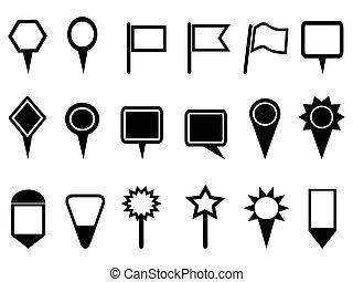 mapa, ponteiro, ícones, navegação