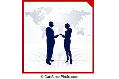 mapa, silhuetas negócio, fundo, equipe, mundo, incorporado
