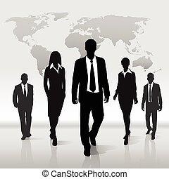 mapa, silueta, pessoas negócio, sobre, passeio, mundo, grupo