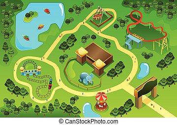 mapa, tema, parque divertimento