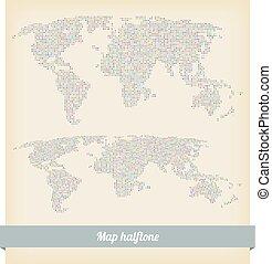 mapa, vetorial, halftone