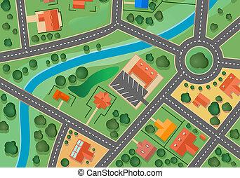 mapa, vila, subúrbio