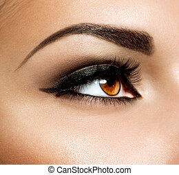 maquiagem, makeup., olhos, marrom, olho