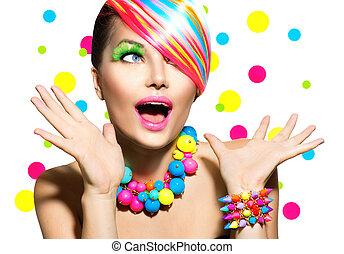 maquilagem, manicure, retrato, coloridos, penteado, beleza