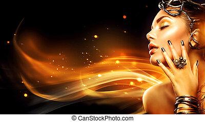 maquilagem, menina mulher, beleza, queimadura, dourado, modelo, moda, profile., cabeça