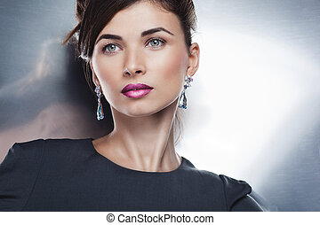 maquilagem, profissional, posar, moda, bonito, retrato, modelo, jewelry., penteado, glamour, exclusivo