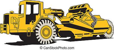 maquinaria pesada, pavimentar, raspador