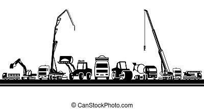 maquinaria, pesado, construção
