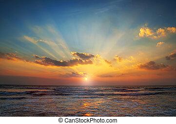 mar, amanhecer