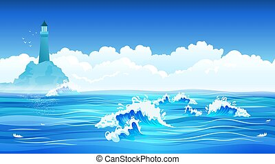 mar, apartamento, fundo