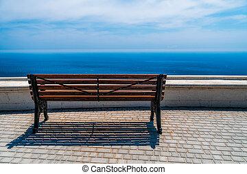 mar, unidade, vazio, bonito, calma, ensolarado, abertos, conceito, nature., vista, negligenciar, costa, madeira, espaço, steppe., mountain., silêncio, banco