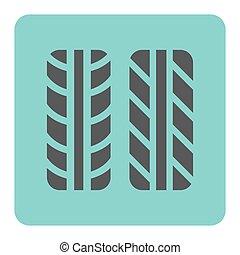 marca, pneumático, ícone