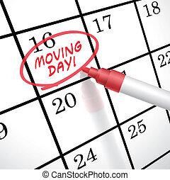 marcado, dia, em movimento, palavras, calendário, círculo