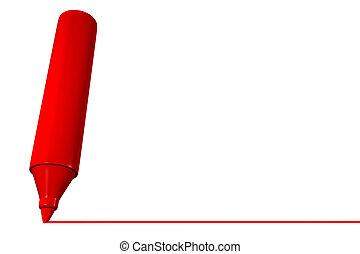 marcador, forre desenho, vermelho