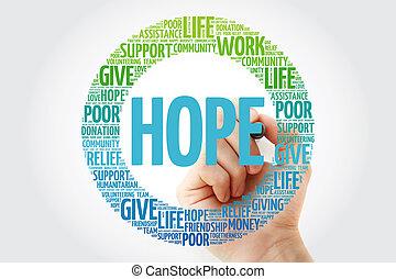 marcador, palavra, esperança, nuvem