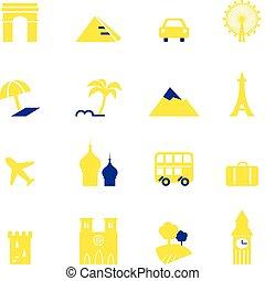 marcos, ícones, férias, isolado, viagem, cobrança, &, branca