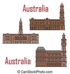 marcos, arquitetura, austrália, edifícios