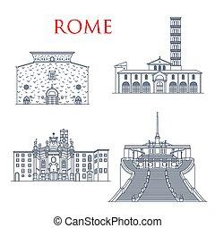 marcos, famosos, roma, edifícios, arquitetura