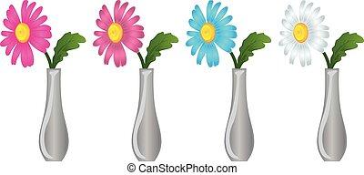 margarida, flores, vaso