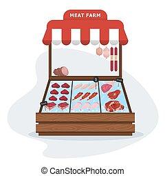 market., suina, carne, fazenda, alimento., saudável, fresco, carne